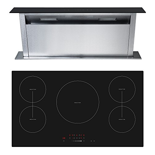Cookology 90cm Touch Control Induction Hob & Downdraft Extractor Fan Pack