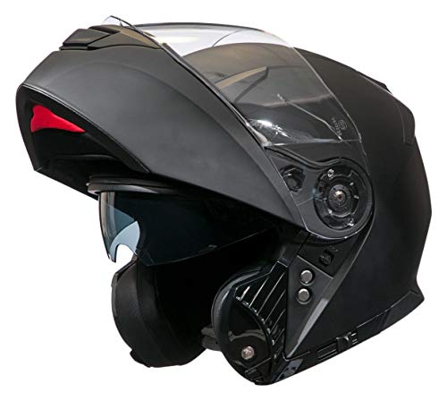 Bilt Power Flip Up Drop Down Sun Shield Vented DOT Sport Adventure Touring Street Bike Motorcycle Modular Helmet - Matte Black LG