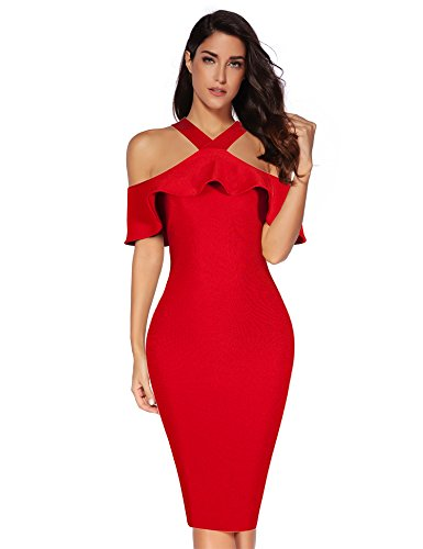 Meilun Womens Ruffles Cold Shoulder Bandage Bodycon Party Dress (S, Red)