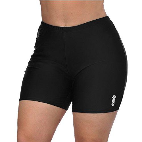 Vegatos Womens Black Plus Size Board Short Sports Swimsuit Tankini Bottoms Boardshorts by Vegatos (Image #5)