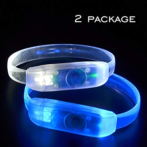 MASBRILL 2 Pack Flashing LED Bracelet -3 Functions led Wristband for Events -Light up LED Bracelet