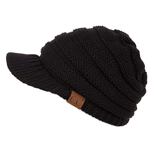 Hatsandscarf CC Exclusives Women's Ribbed Knit Hat with Brim (YJ-131) (Black Amazon)