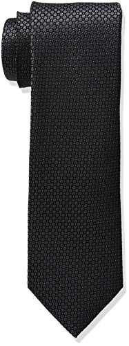 Calvin Klein Men's Black Tie, Black Micro Solid, X-Long