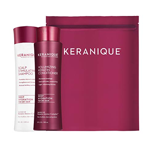 (Keranique Deep Hydrating Shampoo and Conditioner Set for Hair Growth and Thinning Hair | Keratin Hair Treatment | Keratin Amino Complex, Free of Sulfates, Dyes and Parabens, 8 Fl Oz)