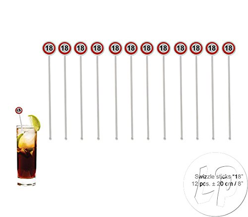 ES Pack of 12 Plastic Drinking Stirrer Cocktail Swizzle Sticks Sign 18