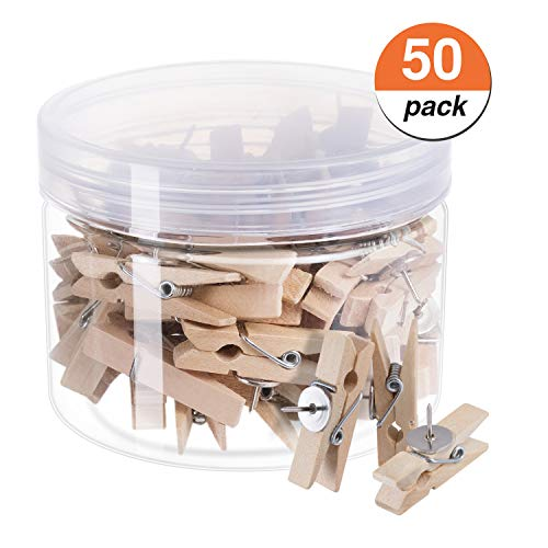 favide Favourde Push Pin with Wooden Clips Pushpins Tacks Thumbtacks for Cork Boards Artworks Notes Photos, Craft Projects, Offices and Homes, Pack of 50, Wood (Artwork Board)
