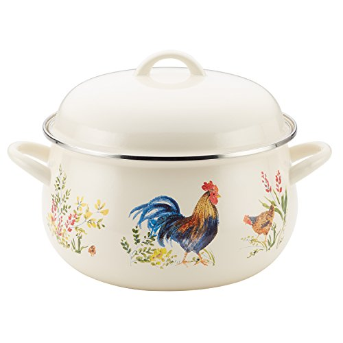 Paula Deen Enamel on Steel 8-Quart Covered Stockpot, Garden - Pasta Deen Paula