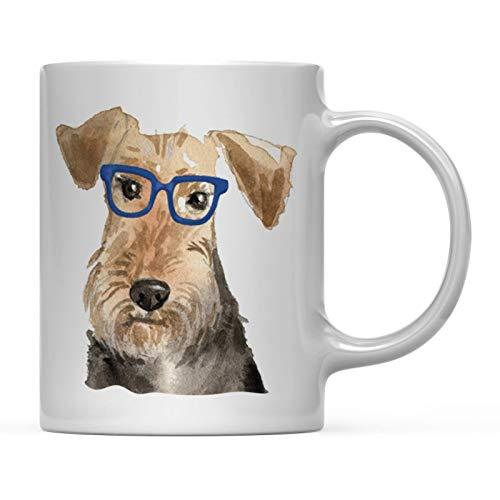 Andaz Press Funny Preppy Dog Art 11oz. Coffee Mug Gift, Welsh Terrier in Blue Glasses, 1-Pack, Christmas Birthday Present Ideas for Him Her Dog Lover