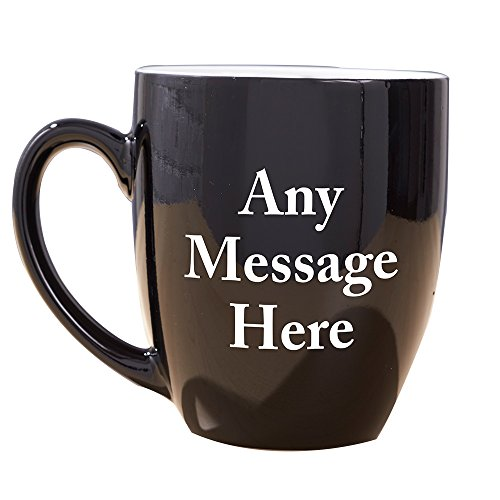 GiftsForYouNow Any Message Here Black Bistro Personalized Coffee Mug, Ceramic, 16 - Oz Bistro 16 Ceramic