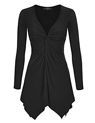 Made By Johnny MBJ Womens Long Sleeve Knot Baby Doll Tunic Top XXL Black