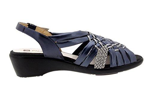 Calzado mujer confort de piel Piesanto 8563 sandalia cuña zapato cómodo ancho Azul-Acero