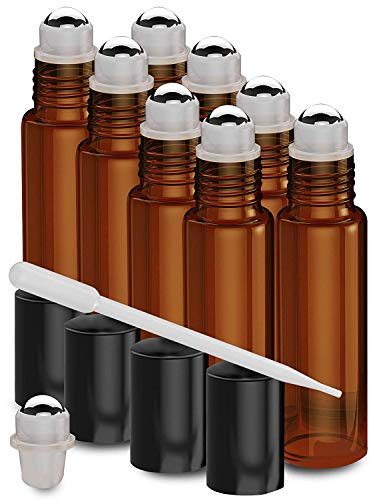 Nylea 8 Pack Essential Oil Roller Bottles [Metal Chrome Roller Ball] Refillable Glass Color Roll On for Fragrance Essential Oil - 10 ml 1/3 oz