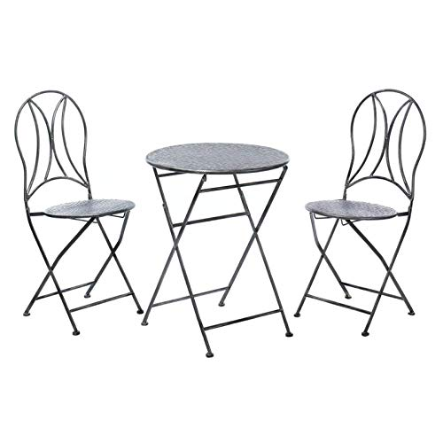 Anya Nana Patio Set: 3 Piece Hammered Textured Iron Outdoor Folding Table and Chairs Patio Space Decor