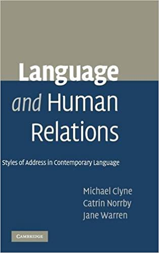 Language and Human Relations: Styles of Address in Contemporary Language  1st Edition