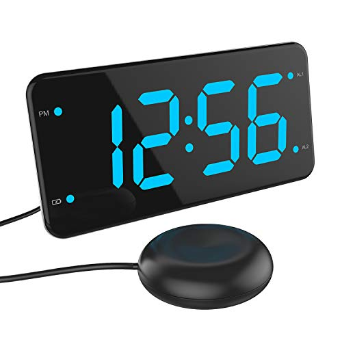 Easy Setting Dual Alarm Digital Clock with Bed Shaker, Loud Alarm, Dual USB Charger, Large Number LED Display, Full Range Dimmer, Battery Backup, Snooze, USB Night Light - Ocean Blue
