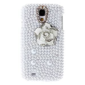 White Camellias Painting Pattern Rhinestone Protective Pouches for Samsung Galaxy S4 I9500