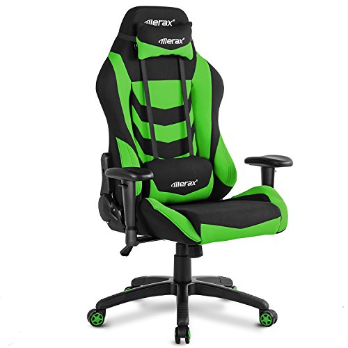 Merax Video Game Chairs Leisure Sports & Game Room Racing Style Office Home Chair Gaming Ergonomic with Adjustable Armrests Chair (Green)