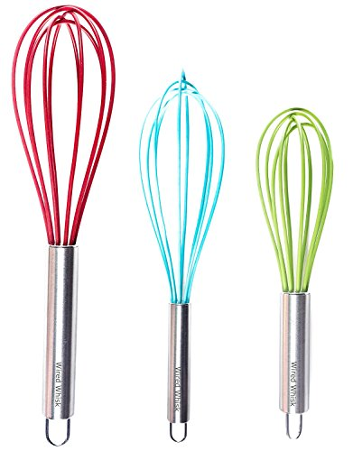 Cook Green Whisk (Silicone Whisk Set of 3 - Stainless Steel & Silicone Kitchen Utensils for Blending, Whisking, Beating & Stirring - (Blue: 12-inch, Red: 10-inch & Green: 8.5-inch) (Multi))