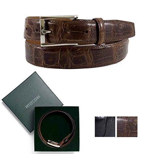 BRYANT PARK Men's Crocodile Tail Sleek Dress Belt. Made in the USA, with silver buckle 1.5