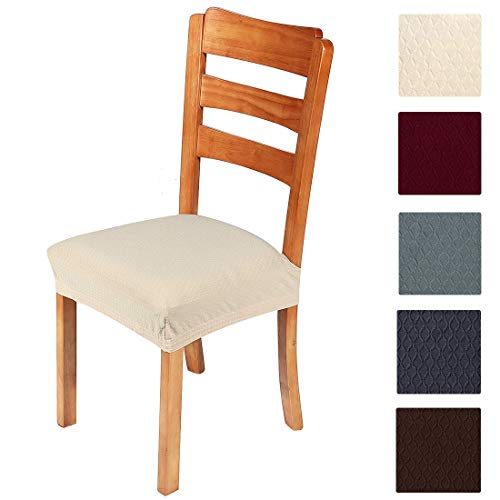 smiry Stretch Jacquard Chair Seat Covers for Dining Room, Removable Washable Anti-Dust Chair Seat Protector Slipcovers - Set of 4, Beige (Best Fabric For Kitchen Chair Cushions)