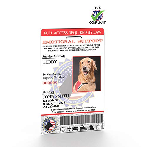 XpressID Emotional Support Animal ID Card With Holographic Overlay and Registration to Dog -