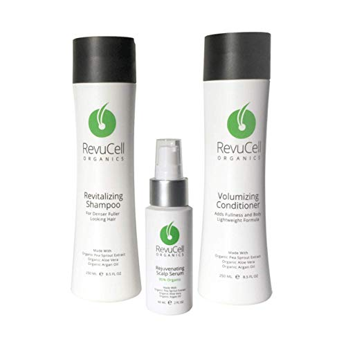 RevuCell Organics Hair Growth Treatment Kit - for Men & Women - Includes Revitalizing Shampoo, Volumizing Conditioner and Rejuvenating Scalp Serum - Vegan & Gluten Free - Hair Color & Keratin Safe