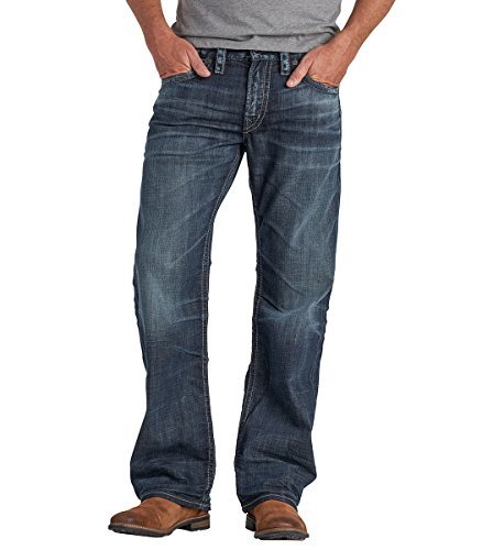 Silver Jeans Men's Co Zac Relaxed Fit Straight Leg, Dark Sandblast, 34 x 34 by Silver Jeans Co.