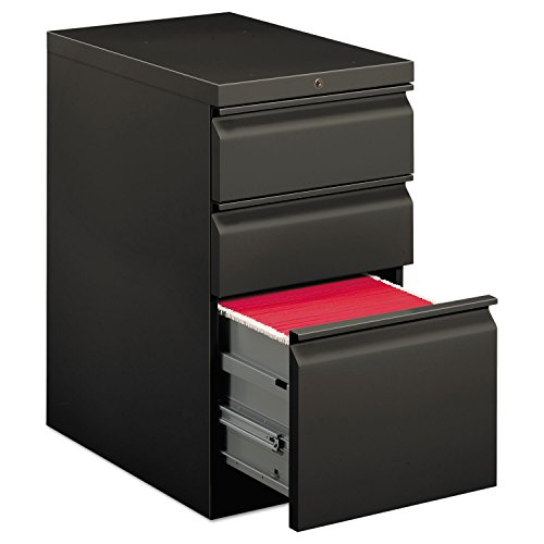 Hon Mobile Pedestal - HON Brigade Series Mobile Pedestal - 15quot; x 22.9quot; x 28quot; - 3 x Box, File Drawer(s) - Legal, Letter - Security Lock, Ball-bearing Suspension - Charcoal Gray