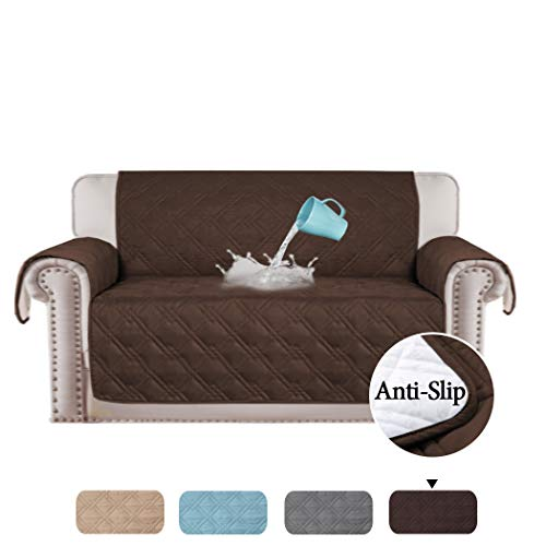 - H.VERSAILTEX 100% Waterproof Loveseat Cover for Pets Premium Quilted Furniture Protector Loveseat Slipcover Love Seat Couch Covers Non-Slip Backing Microfiber Soft (Love Seat: Brown) - 75