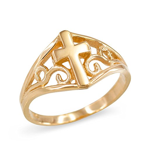 (Filigree Cross Ring for Women in Fine 10k Yellow Gold (Size 7.5))