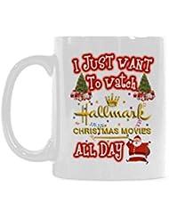 WECE Mug Life I Just Want To Watch HALLMARK CHRISTMAS MOVIES All Day Coffee Mug Funny 11 ounce