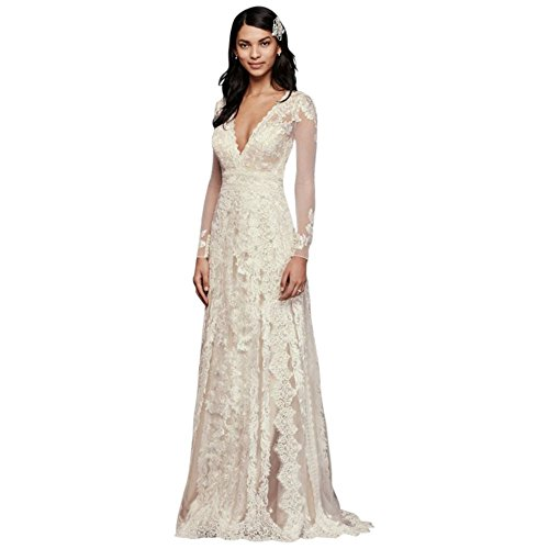 Melissa Sweet Linear Lace Wedding Dress Style MS251173, Ivory, 6