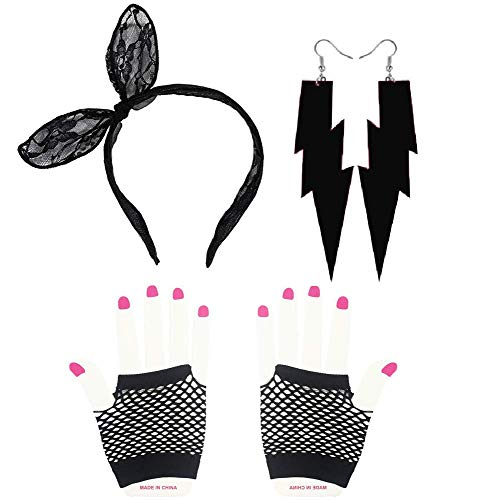 80s Outfit - Womens 80s Fancy Outfit Costumes Accessories Set,Lace Headband Fishnet Gloves Neon Earrings
