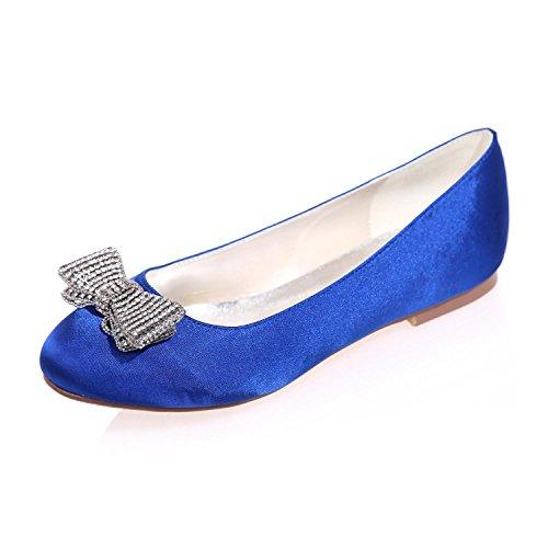 L@YC Damen Hochzeit Schuhe Rundkopf / Flat / Party Nacht 9872-25 & More Verfügbare Farben Blue