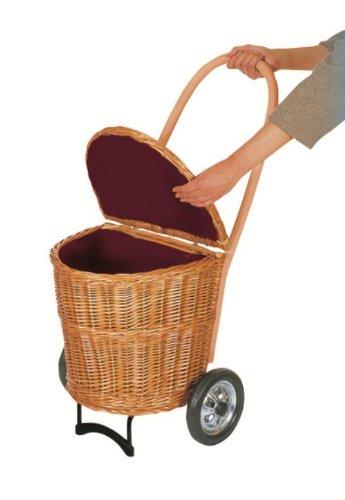 Korb Shopper Trolley Creme mit Stoff - Größe L