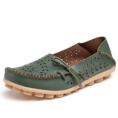 Casual Army Shoes Lucksender Carving Out Green Flat Womens Leather Driving Loafers Hollow nnv1qBwxI4