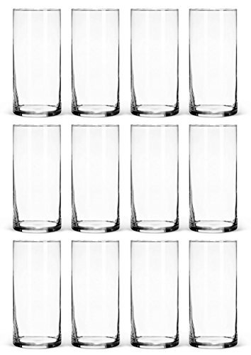 Treasures Untold Glass Cylinder Vases Bulk Set of 12 for Wedding Reception Centerpiece Sets and Formal Dinners (7.25 Inches Tall) -