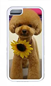 Universal Multifunctional Adjustable Mobile Phone Case Cover With Animal Image A Dog Wear Sunflower For iPhone 5C.