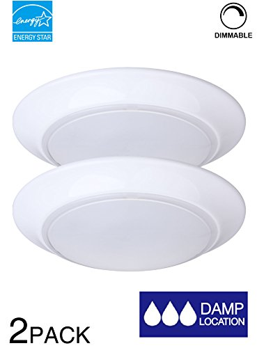 LIT-PaTH 7.5 Inch Mini LED Ceiling Light, LED Flush Mount, 11.5W (75W Equivalent) , Dimmable, 800 Lumen, ETL and ES Qualified (2-Pack) (Outdoor Mount Led Flush Mini)
