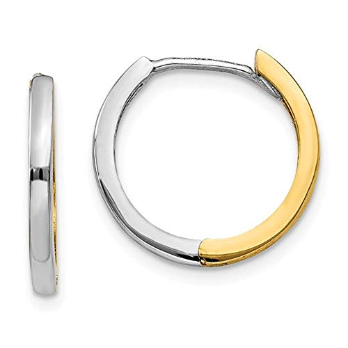 Small 14K Gold Polished Two Tone Hinged Hoop Earrings, 0.6 Inch (14mm) (1.5mm Wide)