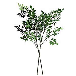 "Jasming 33.5"" Artificial Locust Branches Green Leaf Spray Fake Shrubs Plastic Greenery Plants Home Office Garden Wedding Floral Decoration 91"
