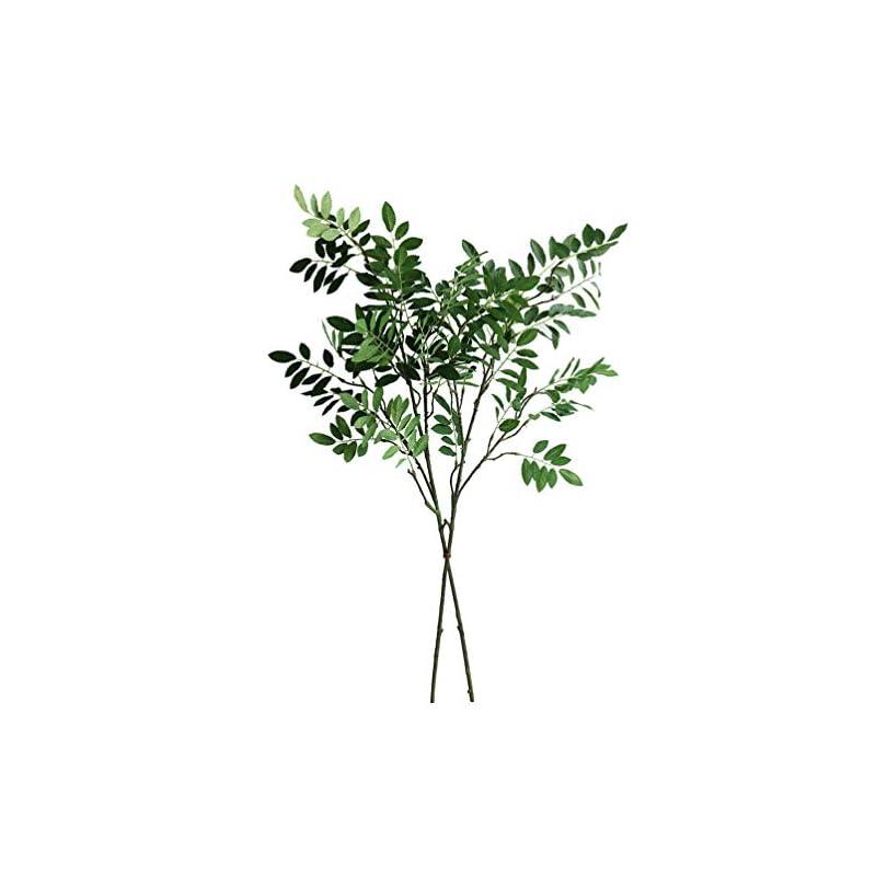 "silk flower arrangements elyjhyy 33.5"" artificial locust branches green leaf spray fake shrubs plastic greenery plants home office garden wedding floral decoration (2pcs)"