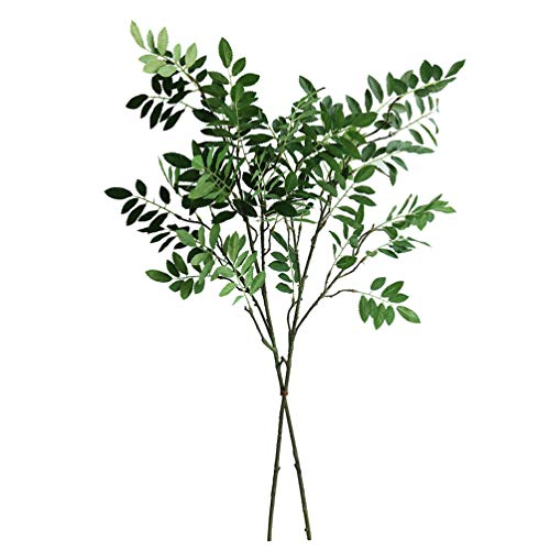 "Jasming 33.5"" Artificial Locust Branches Green Leaf Spray Fake Shrubs Plastic Greenery Plants Home Office Garden Wedding Floral Decoration (2PCS)"