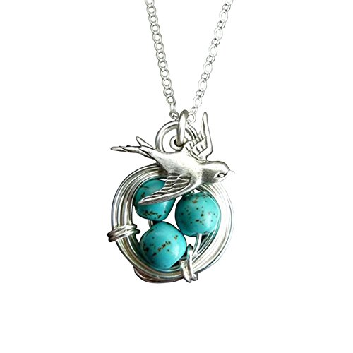 Softmusic Alloy Hanging Pendant,Lucky Women Magpie Nest Faux Turquoise Pendant Necklace Party Club Gift ()