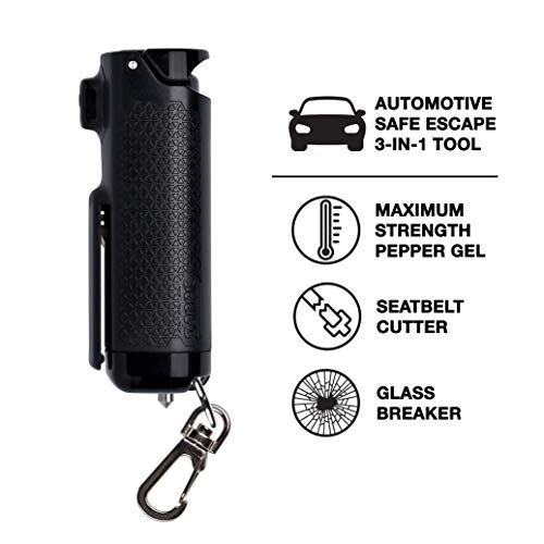SABRE Safe Escape Pepper Gel, Seatbelt Cutter and Window Glass Breaker - 3-in-1 Car Safety Tool with Maximum Police Strength Pepper Gel, Keychain Snap Clip for Quick Access - Gel is Safer