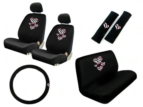 11 Piece Auto Interior Gift Set : 2 Low Back Front Bucket Seat Covers with Separate Headrest Cover, 1 Steering Wheel Cover, 2 Shoulder Harness Pressure Relief Cover, and 1 Bench Cover - Love Hearts Zebra White - Plain Pink Car Seat Covers