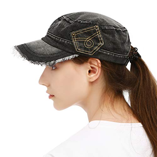 Vintage Washed Denim Cotton Peaked Baseball Cap Distressed Cadet Style Army Cap Military Corps Hat Cap Visor for Men and Women Flat Top Adjustable Baseball Hat Black