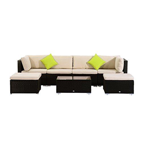 Outsunny 7pcs Wicker Rattan Sectional Outdoor Patio Sofa Table Set Garden Furniture with Cushion, Black, Khaki