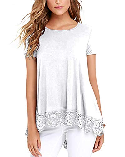 - Women Tops Short Sleeve Lace T Shirts Tops Blouses Tunic White S