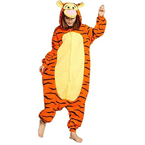 [WOWcucos Unisex Adult Tiger Onesies Animal Cosplay Costume Halloween Xmas Pajamas---S] (Tiger Halloween Costumes)